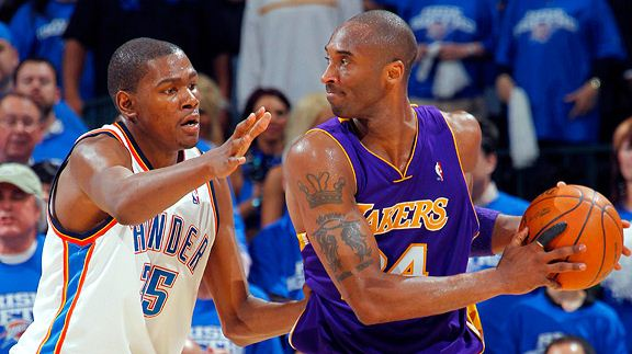 Kevin Durant Guards Kobe Bryant